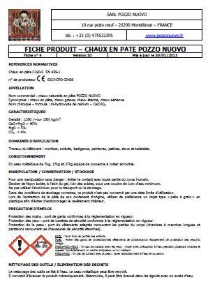 Pozzo Nuovo Chaux aérienne en pâte Fiche technique